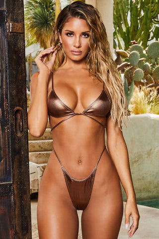 Metallic Ribbed String Wrap Bikini Swimsuit - Two Piece Set
