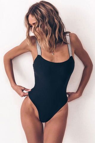 Metallic Shoulder Straps High Leg One Piece Swimsuit