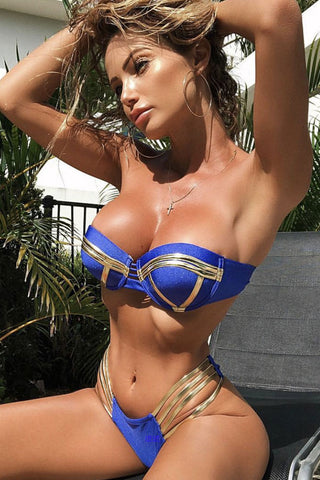 Metallic Strappy Push Up Underwire Bandeau Bikini Swimsuit - Two Piece Set