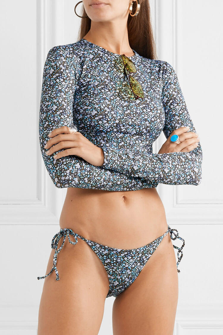 Mini Floral Sleeved Tie Side Crop Bikini Swimsuit - Two Piece Set