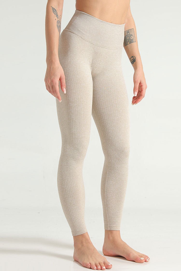 Naked Ribbed High Waisted Yoga Workout Leggings