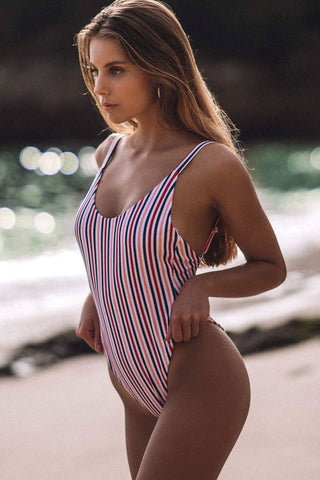 Nautical Vertical Stripe Low Back One Piece Swimsuit