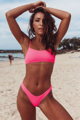 Neon High Leg Ribbed Bralette Bikini Swimsuit - Two Piece Set