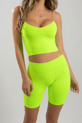 Neon High Waist Bike Short Sports Set