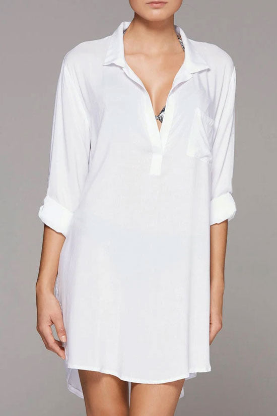 Oversize Split Sides Sleeved Tunic Cover Up Blouse