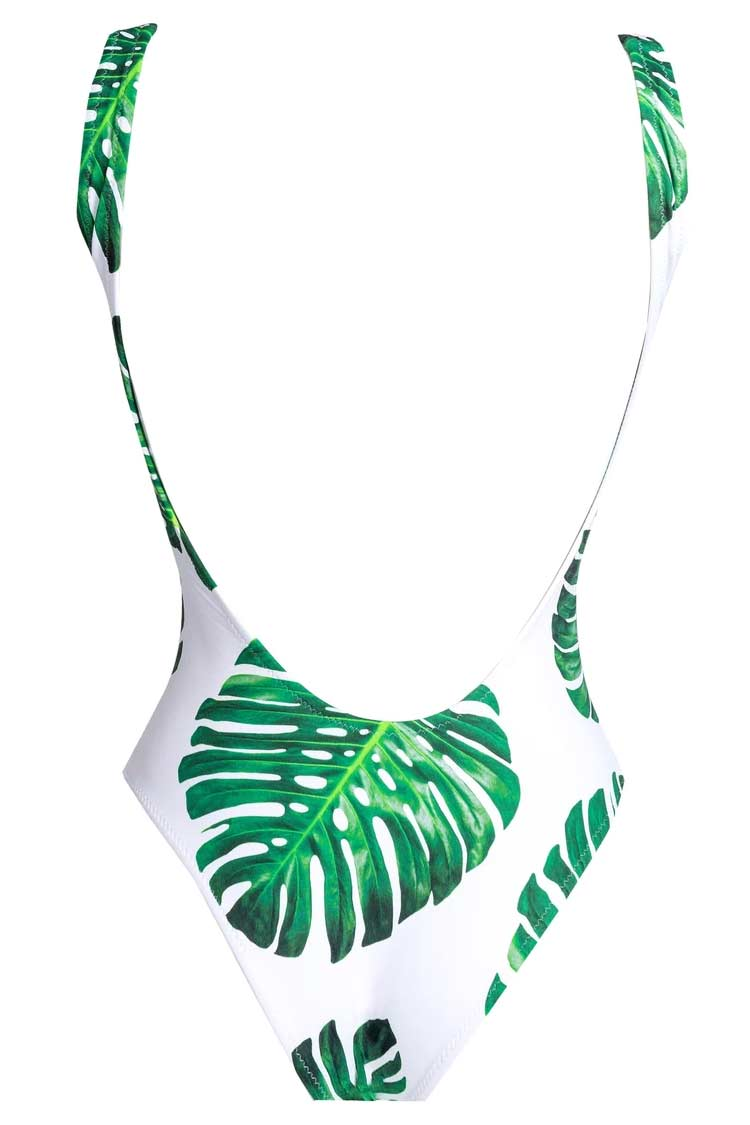 Palm Leaf Print Zip Front Brazilian One Piece Swimsuit