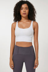 Petite Ribbed Cross Strappy Crop Top Sports Bra