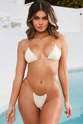 Plastic Straps Halter Slide Triangle Bikini Swimsuit - Two Piece Set