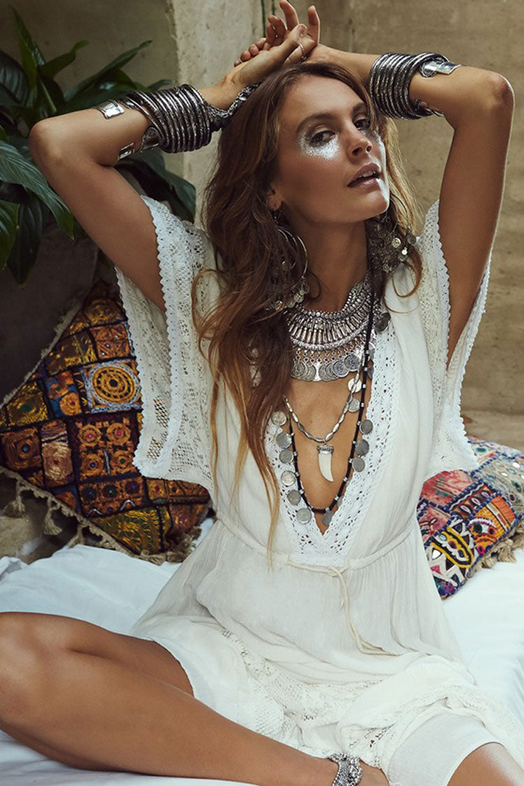 Pleated Splicing Lace Beach Cover Up Maxi Dress