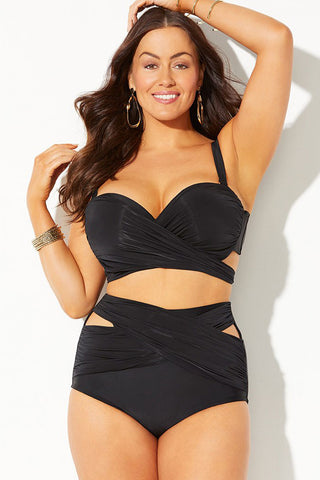 Plus Size High Waist Ruched Underwire Wrap Bikini Swimsuit - Two Piece Set