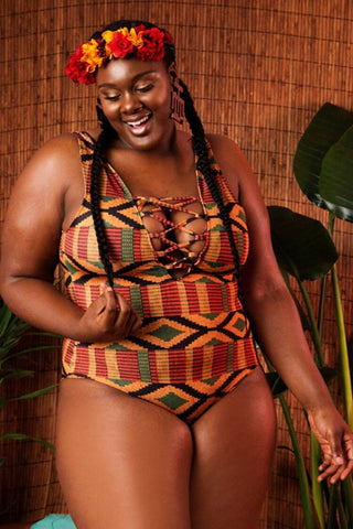 Plus Size Tribal Geometric Lace Up V Neck One Piece Swimsuit