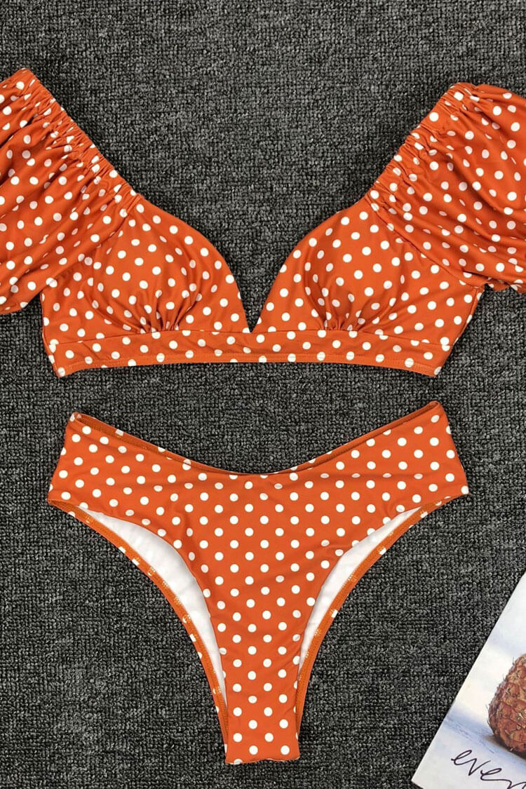 Polka Dot Sleeved Tie Back Bikini Swimsuit - Two Piece Set