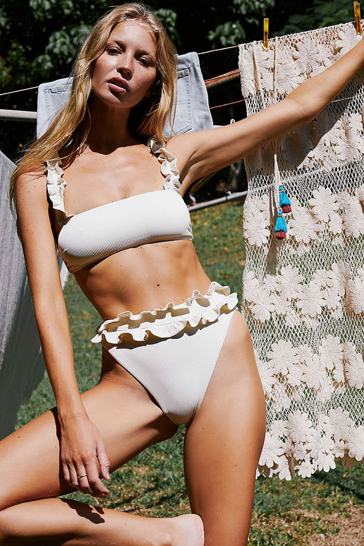 Pretty Ruffle Ribbed Bralette Bikini Swimsuit - Two Piece Set