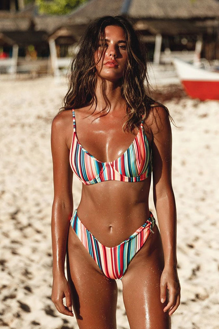Rainbow Stripe High Leg Underwire Bikini Swimsuit - Two Piece Set