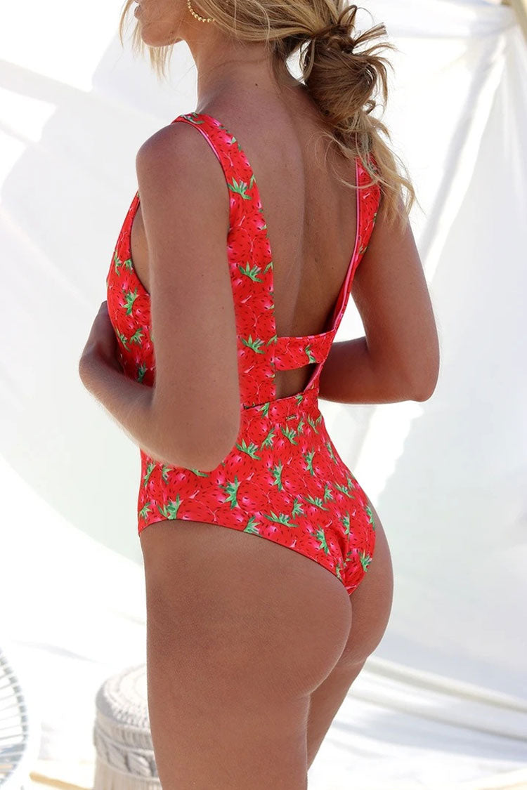 Reversible Colorful Printed Cutout One Piece Swimsuit