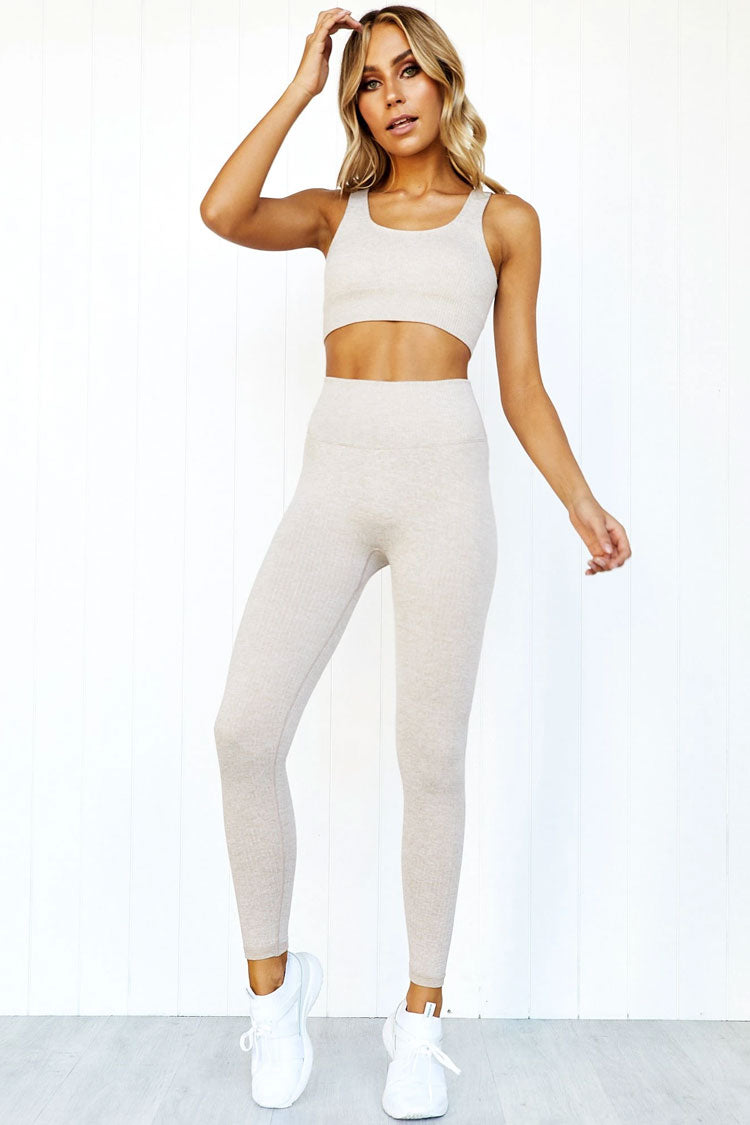 Ribbed High Waist Seamless Sports Set