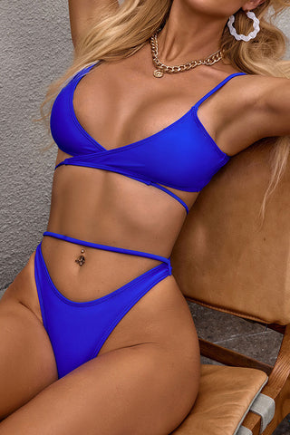 Sexy High Leg Wrap Front String Bikini Swimsuit - Two Piece Set