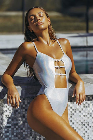 Sexy Solid Cutout Front One Piece Swimsuit