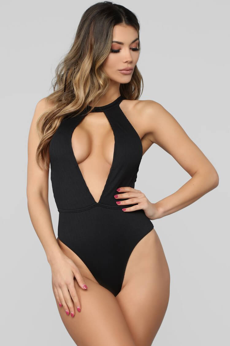 Sexy Strappy Cutout High Neck One Piece Swimsuit