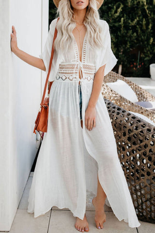 Sheer Sleeved Crochet Trim Maxi Cover Up