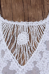 Sleeved Floral Lace Crochet Sheer Cover Up