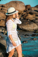 Sleeved Geometric Crochet Tunic Cover Up