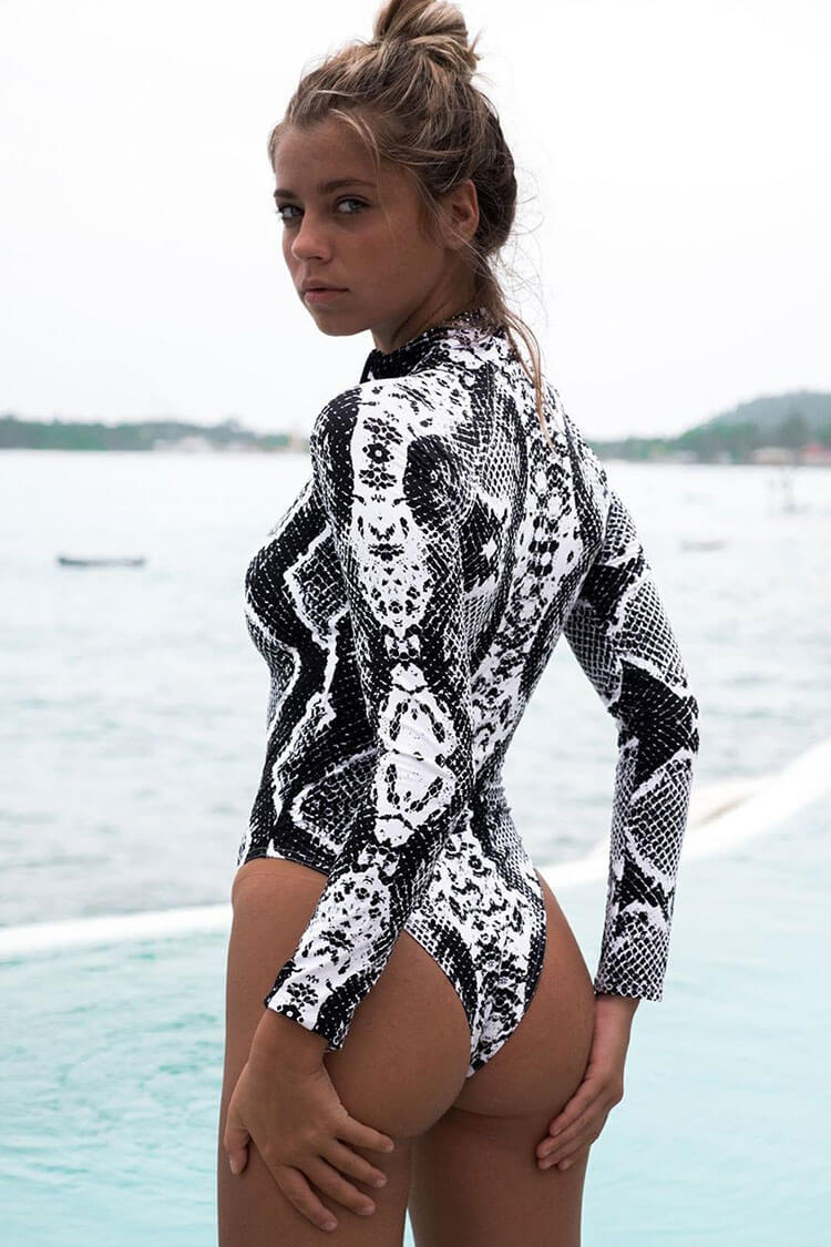 Snake Sleeved Zipper Front One Piece Swimsuit