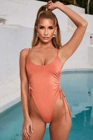 Solid High Leg Drawstring Ruched Thong One Piece Swimsuit