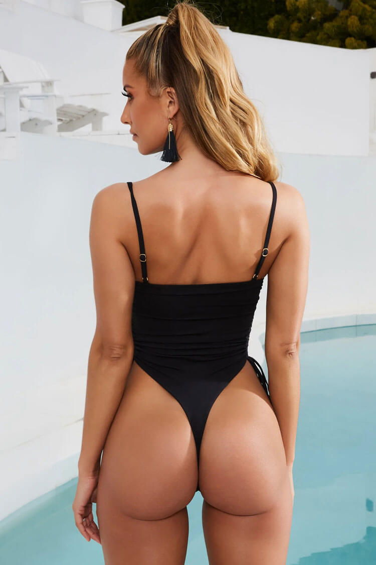 Solid High Leg Drawstring Straps Thong One Piece Swimsuit