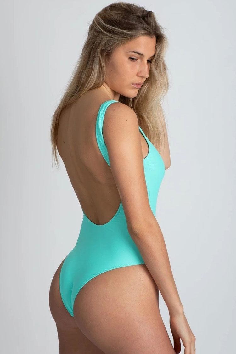 Solid Low Back Zipper Front One Piece Swimsuit