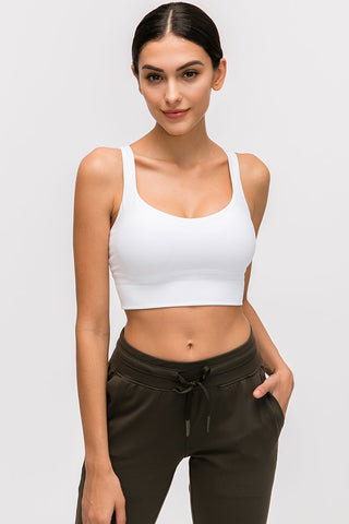 Solid Seamless Strappy Crop Top Sports Bra