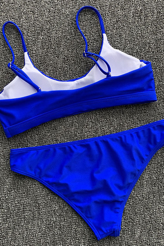 Solid Sexy High Leg Scoop Neck Bralette Bikini Swimsuit - Two Piece Set