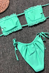 Solid Tie Side Shirred Slide Bandeau Bikini Swimsuit - Two Piece Set