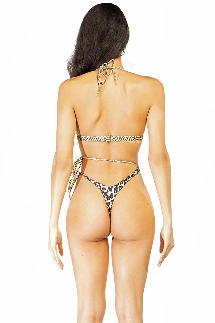 Strappy Triangle Halter Thong Bikini Swimsuit - Two Piece Set