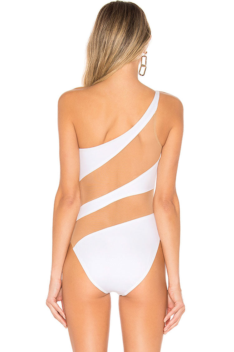 Stylish Splicing Mesh One Shoulder One Piece Swimsuit