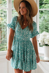 Summer Floral Short Sleeve Beach Mini Dress