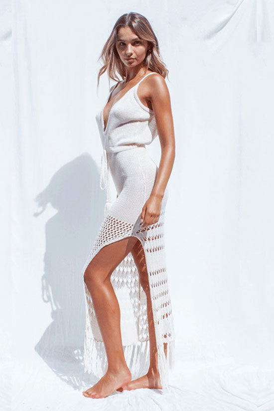 Tassel Crochet Spaghetti Cover Up Dress