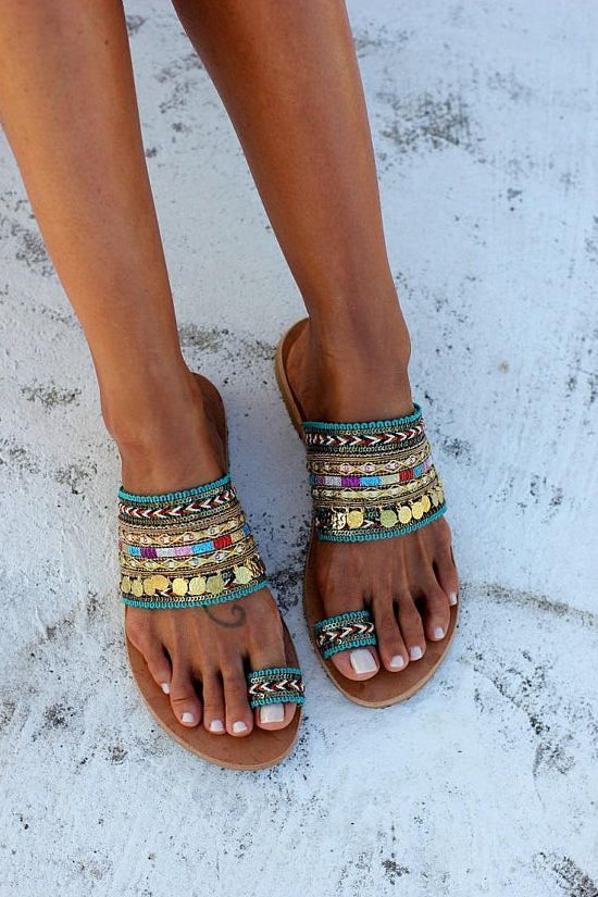 Tassel Toe Ring Boho Woven Flat Slide Sandals