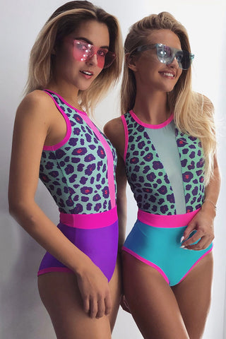 Tie Back Cheetah Splicing Mesh One Piece Swimsuit