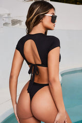 Tie Straps Cutout Back Short Sleeve Thong Bikini Swimsuit - Two Piece Set