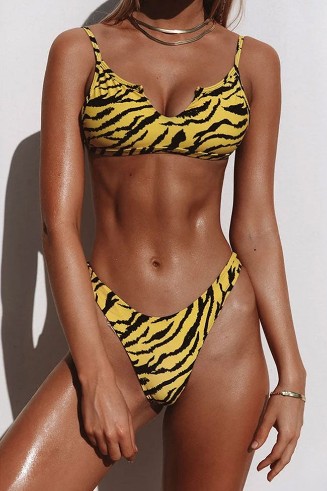 Tiger High Leg V Cutout Bralette Brazilian Bikini Swimsuit - Two Piece Set