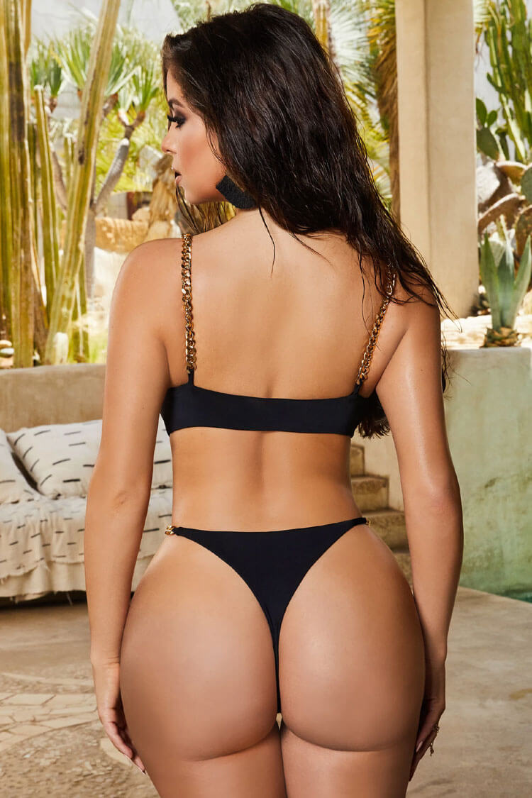 Ultra High Leg Chain Strap Cutout One Piece Swimsuit