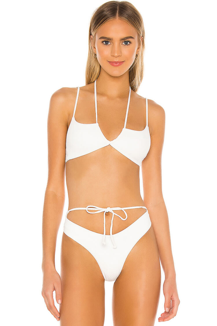 Versatile High Leg Self Tie Bikini Swimsuit - Two Piece Set
