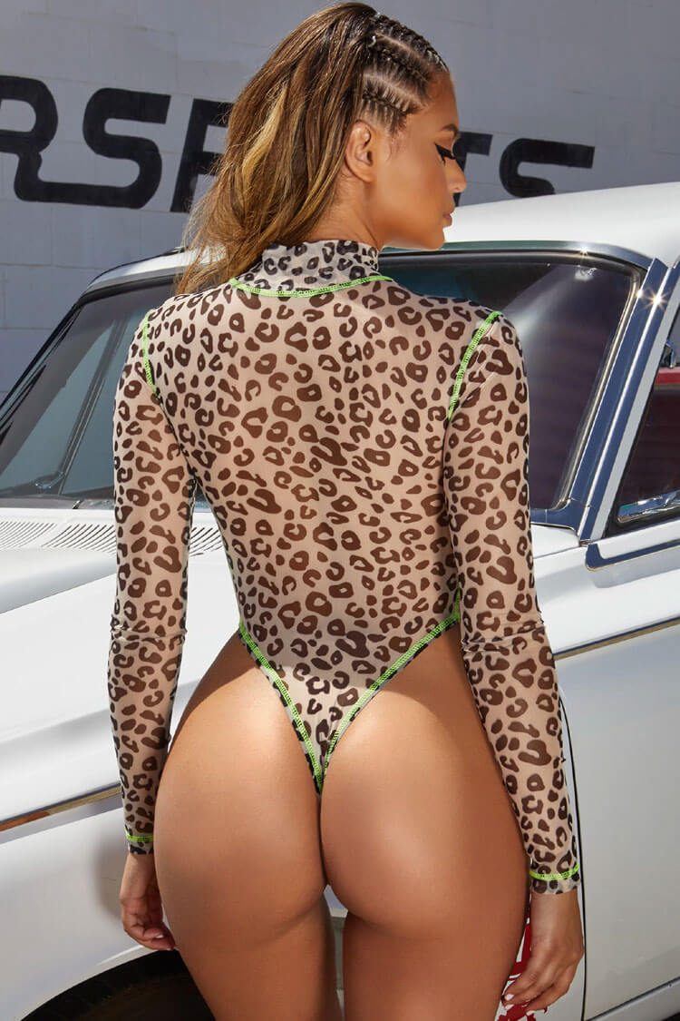 Wild Leopard High Leg Sleeved Mesh Thong One Piece Swimsuit