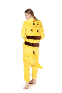 Unisex Warm Pikachu Costume Adult Cosplay Pajamas Homewear Women's Animal Cosplay Costume Unisex Adult Pajamas Onesie
