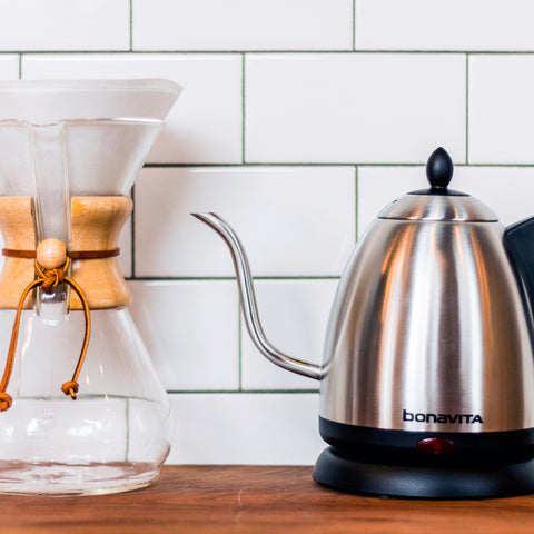 Bonavita 1 Liter Electric Gooseneck Stainless Kettle from Filter - Lifestyle Image