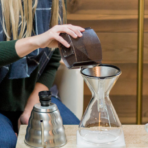 Chemex Eight Cup Coffeemaker Glass Handle from Filter - Lifestyle Image