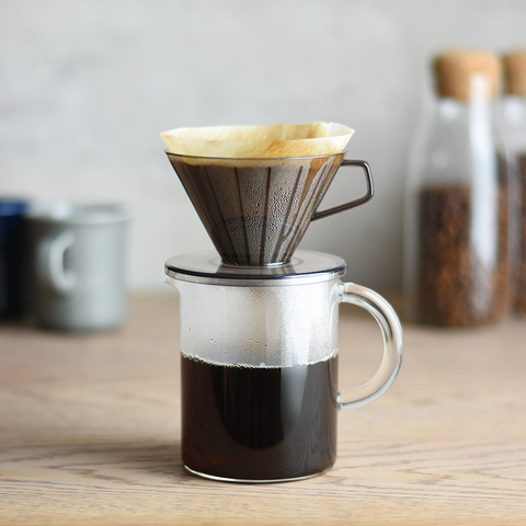 Kinto SCS Coffee Jug drip from Filter - Lifestyle Image