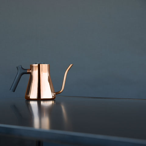 Fellow Stagg Pour Over Kettle copper on counter from Filter - Lifestyle Image