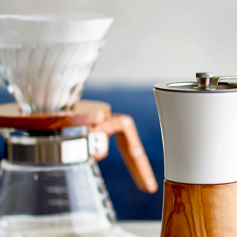 Hario Ceramic Hand Grinder from Filter - Lifestyle Image